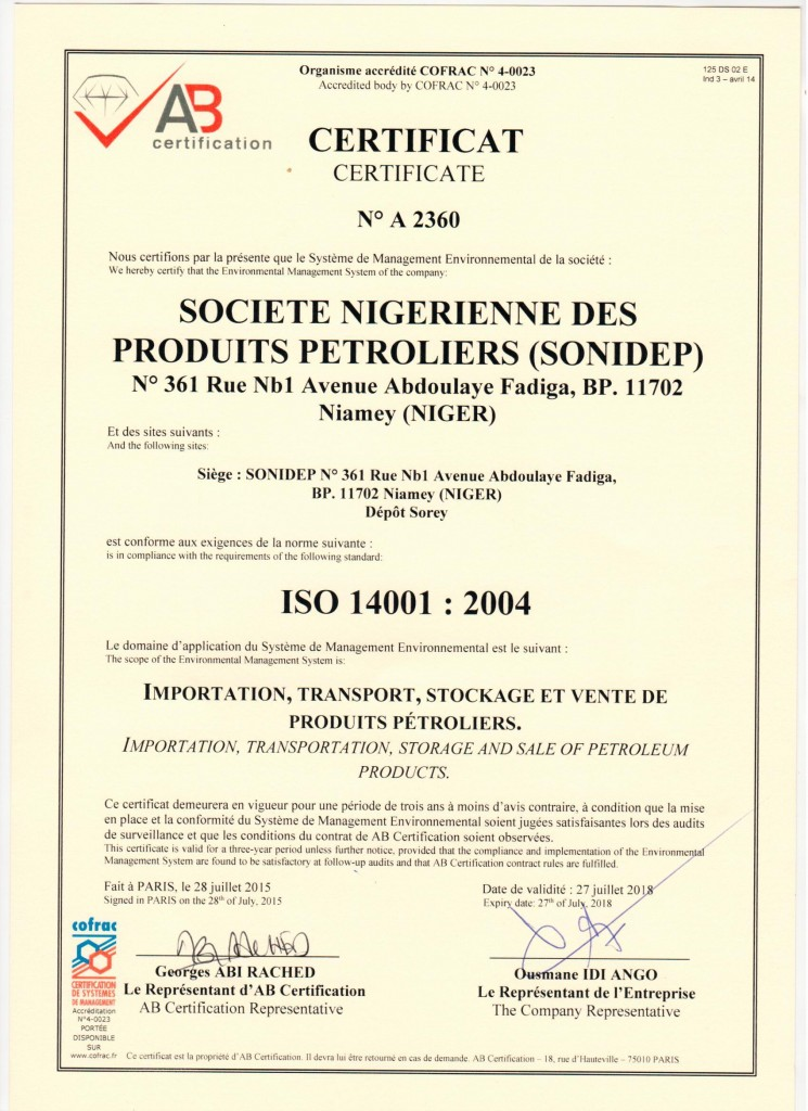 certificat sonidep iso 14001 vs 2004