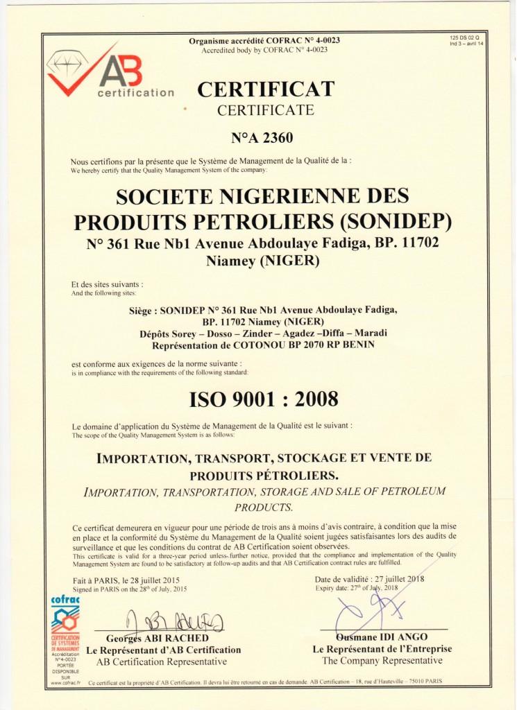 certificat sonidep iso 9001 vs 2008