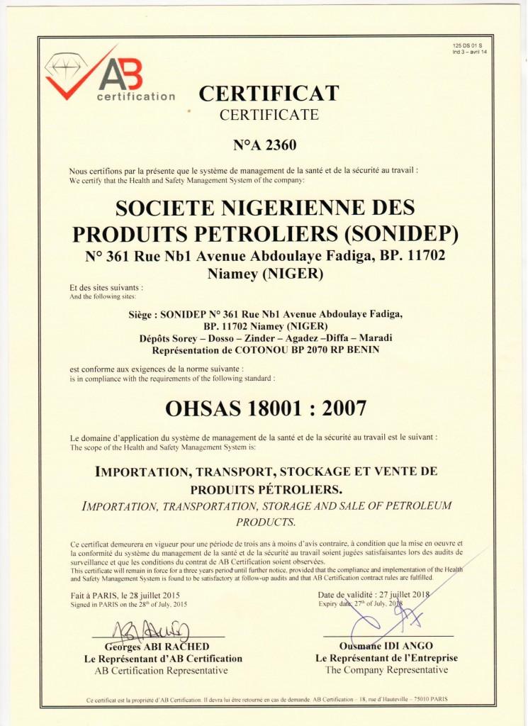 certificat sonidep ohsas 18001 vs 2007
